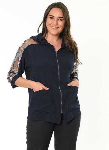 Selen Kapüşonlu Kolları İşlemeli Fermuarlı Bluz Lacivert